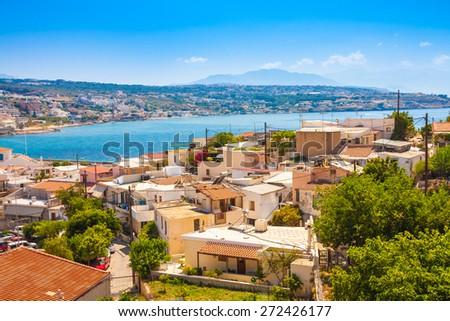 Retimnon. View ftom the castle hill. Crete, Greece. - stock photo