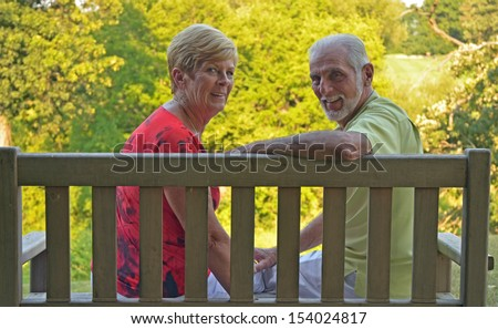 retired couple in love - stock photo