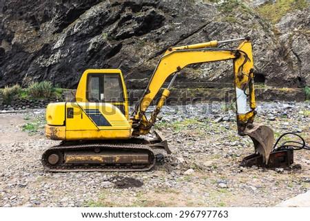 Retired industrial excavator - stock photo