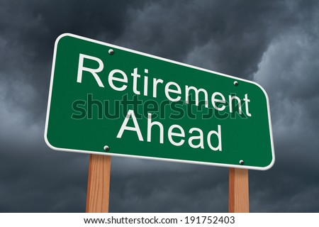 Retirement Ahead Sign, Green highway sign with words Retirement with stormy sky background - stock photo