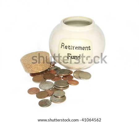 Retirement Fund Jar with coins - stock photo