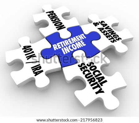 Retirement Income words on 3d puzzle pieces to illustrate the forms of savings a retiree can live on -- 401K, pension, IRA, social security and other savings or assets - stock photo