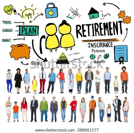 Retirement Insurance Pension Saving Plan Benefits Travel Concept - stock photo
