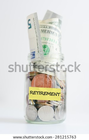 Retirement plan concept illustrated with coins and a jar - stock photo