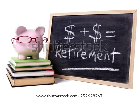 Retirement plan, pension fund saving concept : piggy bank, glasses, blackboard.  - stock photo