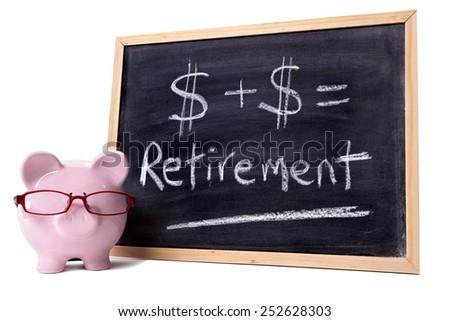 Retirement plan, saving concept, piggy bank. - stock photo
