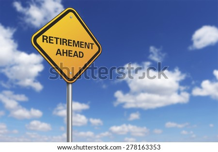 retirement road sign and blue sky - stock photo