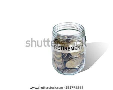 Retirement savings money in jar made in 2d software - stock photo