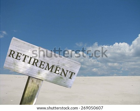 Retirement sign with clouds and skyline background - stock photo