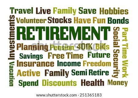 Retirement word cloud on white background - stock photo