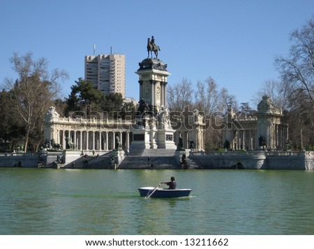 Retiro Park in Madrid, Spain - stock photo