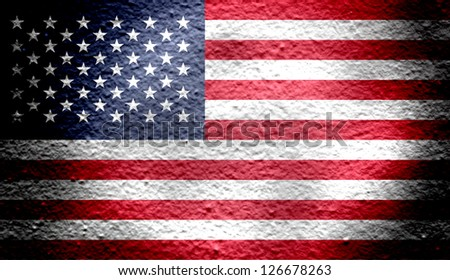 Reto national flag of Unites States in color - stock photo