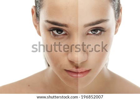 Retouch - face of beautiful young woman before and after - stock photo
