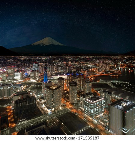 Retouch photo of Yokohama city and Mt. Fuji - stock photo