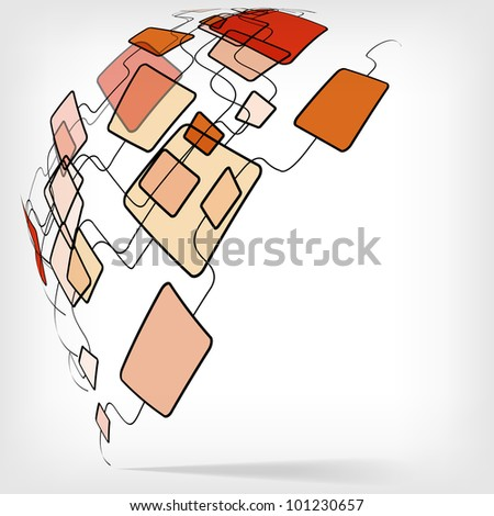 Retro Abstract Design Colorful Square Template - vector version in portfolio - stock photo