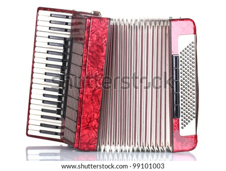 Retro accordion isolated on white - stock photo