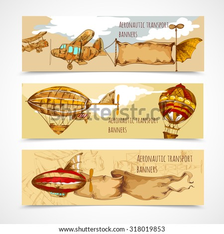 Retro aeronautic transport horizontal hand drawn banners set isolated  illustration - stock photo