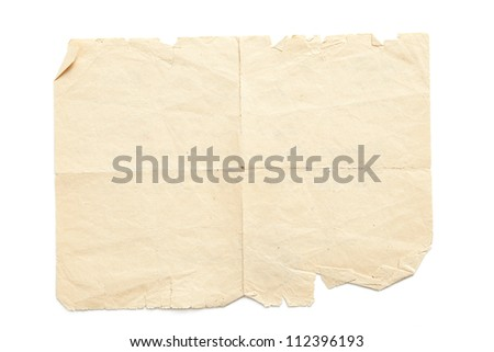 Retro aged grunge paper, isolated on white - stock photo