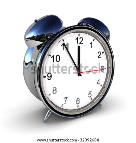 Retro alarm clock isolated over white, with light shadow - stock photo