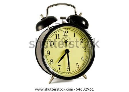 retro alarm clock on the white background - stock photo
