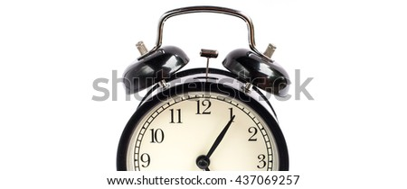 Retro alarm clock on white background,Clock concept background,clock with copy-space - stock photo