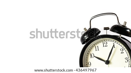 Retro alarm clock on white  background,Clock concept background,clock with copy-space,ten o'clock and five minute - stock photo