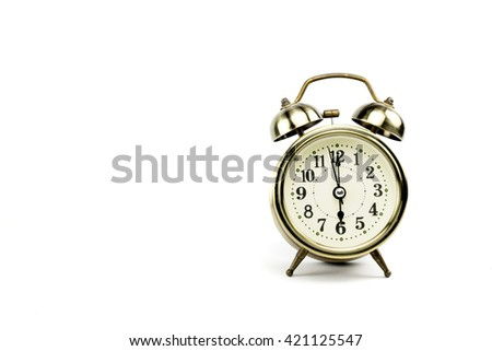 Retro alarm, Either the clock start at 6 am or 6 pm, depends on what it fits for ur concept. free space for your text here - stock photo