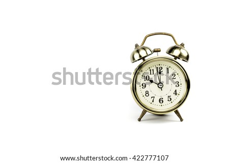 Retro alarm, Either the clock start at 10 am or 10 pm, depends on what it fits for ur concept. free space for your text here - stock photo