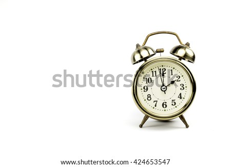 Retro alarm, Either the clock start at 2 am or 2 pm, depends on what it fits for ur concept. free space for your text here - stock photo