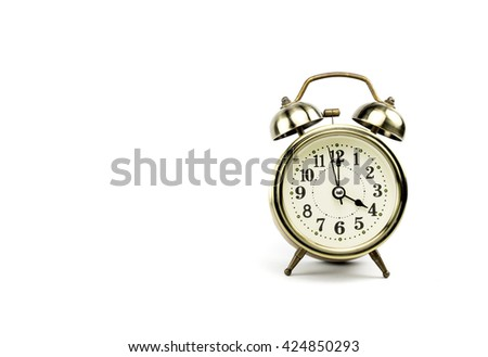 Retro alarm, Either the clock start at 4 am or 4 pm, depends on what it fits for ur concept. free space for your text here - stock photo
