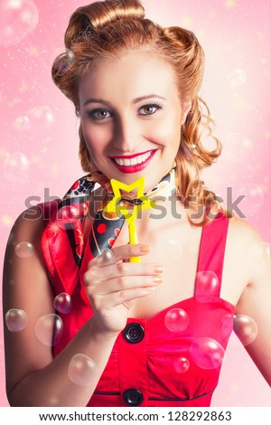 Retro American 50s Female Flight Hostess Offering Five Star Service With A Smile In Business Class Style - stock photo