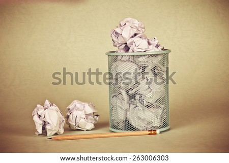 retro and vintage style of  crumpled paper waste  idea - stock photo