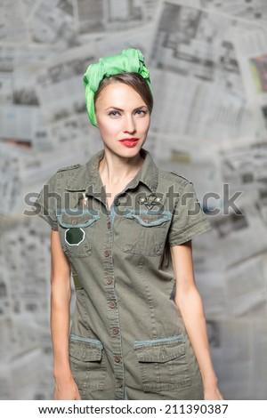 Retro army military pinup girl - stock photo