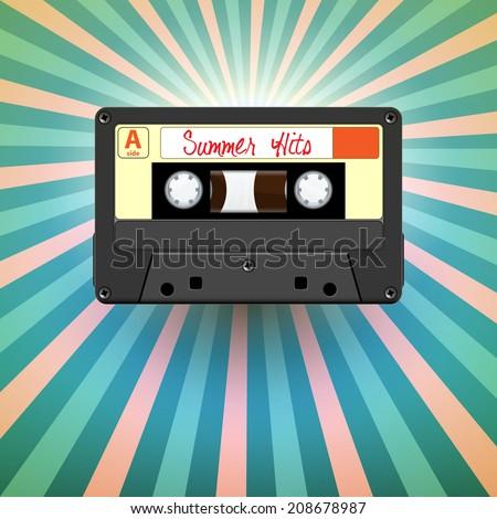Retro audio cassette tape summer hits, background illustration - stock photo