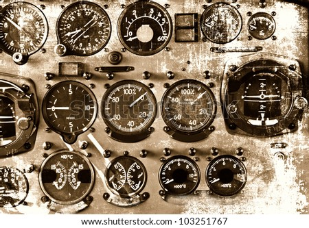 Retro aviation, aircraft instruments grunge background - stock photo