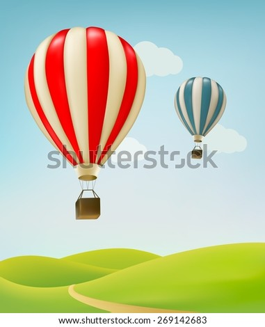 Retro background with colorful air balloons and green land.  - stock photo