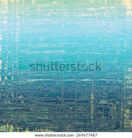 Retro background with grunge texture. With different color patterns: blue; cyan; gray - stock photo