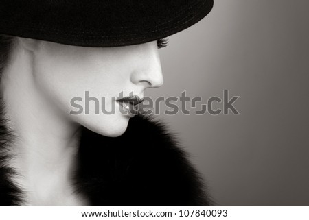 Retro beautiful woman - stock photo