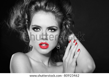 Retro beautiful woman in Classic style  with red lips - stock photo