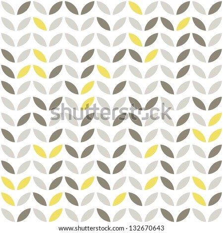 retro beige yellow brown leaves shaped elements in rows on white background abstract geometric seamless pattern raster version - stock photo