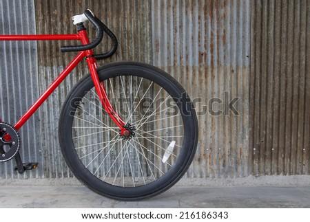 retro bicycle on the floor zinc  - stock photo