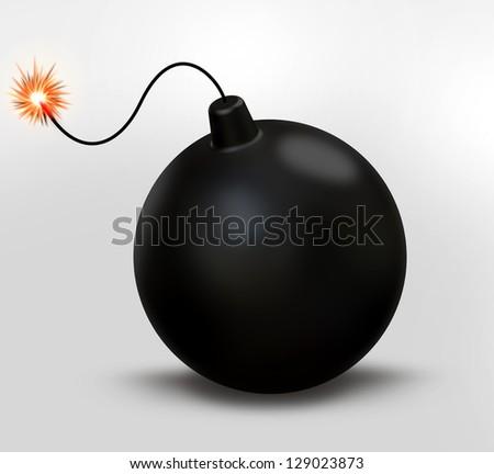 Retro black Bomb - stock photo