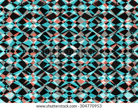 Retro black, red and blue kaleidoscope pattern background - stock photo