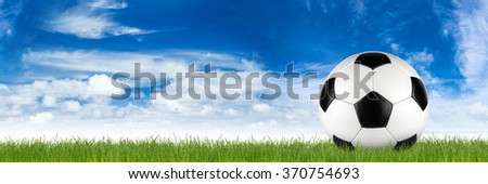 retro black white leather soccer ball on grass in front of blue sky - stock photo