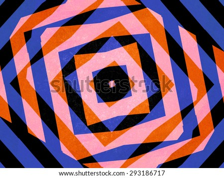Retro blue and orange striped diamond background - stock photo