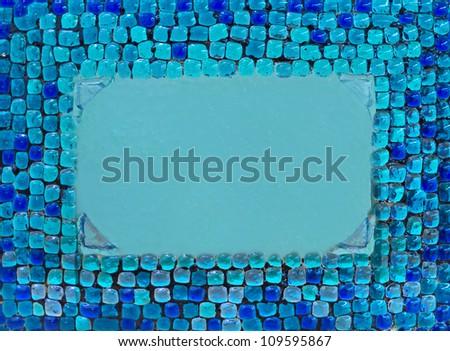 retro blue glass frame - stock photo