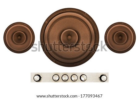 Retro brown speakers with controls isolated on a white background - stock photo