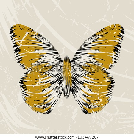 retro butterfly on old background, colorful abstract illustration - stock photo