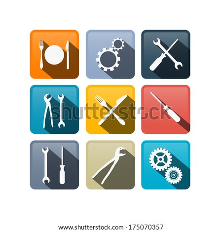 Retro Buttons: Cogs, Gears, Screwdriver, Pincers, Spanner, Hand Wrench Tools, Knife, Fork - Also Available in Vector Version  - stock photo