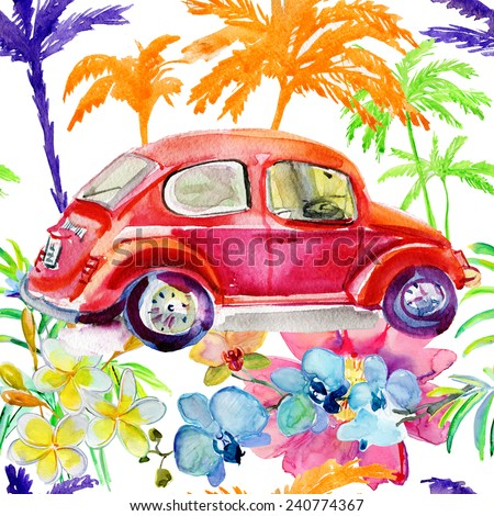 Retro car on summer background with palm trees and flowers. Seamless background. - stock photo